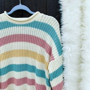 C.C. Hughes Pastel Striped Knit Sweater Size Large